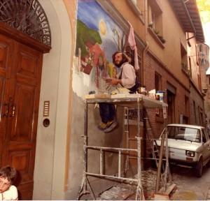 Mazzetti dipinge Il Menestretto Dozza81-2